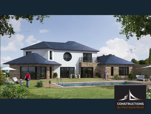 maison moderne avec habillage pierre